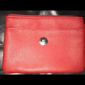Real Leather Red Wristlet Designed By Stone & Co